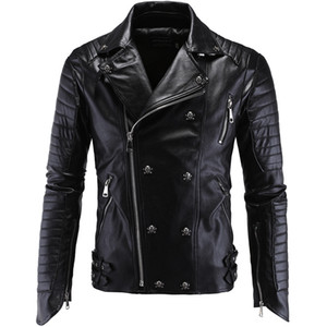Wholesale Men PU Leather Jacket Biker Streetwear Winter Male Punk Style Jacket with Skull Buttons Zippers Asian Size M XL