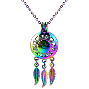 C798 Rainbow Color Dream Catcher Sun Face Beads Cage Pendant Essential Oil Diffuser Aromatherapy Pearl Cage Locket Pendant Necklace