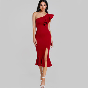 cf1cbbddf0ada Slit Fishtail Summer Party Dress Burgundy One Shoulder Women Sexy Flounce  Midi Dresses Elegant Empire Club