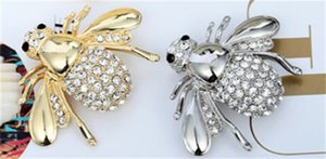 Wholesale New High Quailty Fashion Rhinestone Animal Brooch Jewelry Lovely Alloy Bee Brooches Pins Accessories For Women