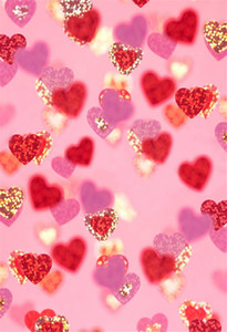 Wholesale Valentines Day Kids Photography Backdrops Printed Gold Red Pink Love Hearts Wedding Children Girls Birthday Party Photo Booth Backgrounds