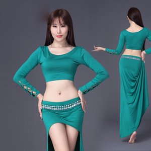 Wholesale 2018 New Belly Dance Costumes Sexy Modal Long Sleeve Bellydance Skirt Show Practice Gypsy Clothing Women Exotic Dancewear DN2291