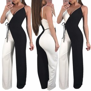 Wholesale High Quality Jumpsuit Women Black White Wide Leg Romper Overall Summer Women Sexy V Neck Club Wear S3281