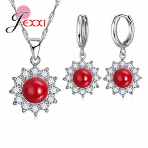 Wholesale JEXXI Fashion Korean Big Red Ball Sunflower Shape Necklace Hook Earrings Jewelry Sets Sterling Silver Pendant Earrings Sets
