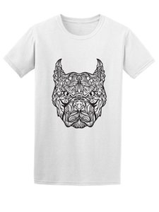 Wholesale Cool Pattern Pitbull Face Sketch Men s Tee Image by Shutterstock Mans Unique Cotton Short Sleeves O Neck T Shirt New Arrival Men