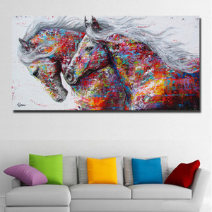 pintura de caballos al por mayor-SELFLYLY Animal Wall Art Pictures Horse Painting For Living Room Decoración para el hogar Pintura de la lona The Two Running Horse No Frame