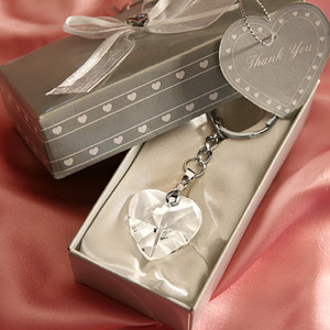 Wholesale giveaways box for sale - Group buy 50PCS Crystal Heart Key Chain in Gift Box Wedding Favors Bridal Shower Party Giveaways For Guest