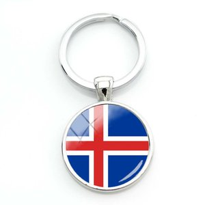 Wholesale Fashion Canadian Flag Key Chain Women Silver Czech Republic Flag Glass Cabochon Keychain Iceland Flag Pic