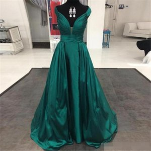 Wholesale 2018 Evening Dresses Cheap Emerald Green Satin A Line Prom Dresses V Neck Ruched Long Formal Prom Gowns Custom Robe de Soiree