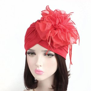 Wholesale Fascinators Hats Women ruffle turban Headwear with big poplin flower Cocktail Wedding Tea Party Hat Indian Turban Hats turbante