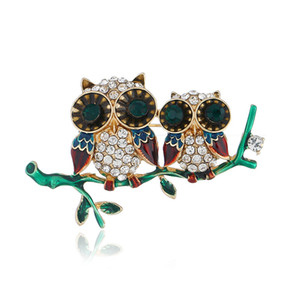 Wholesale New personality alloy two drops of oil owl brooch social banquet men and women models gold inlaid rhinestone costumes jewelry
