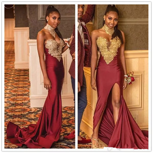 Burgundy Sweetheart Mermaid Prom Dresse 2019 Gold Lace Appliques Sexy Side Split African celebrity Evening Gowns Formal Wear on Sale
