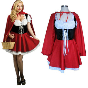 Plus Size Role Play Dress Little Red Riding Hood Costume Cosplay Adult Party ClubWear Sexy Carnival Halloween Costumes For Women Y1892611