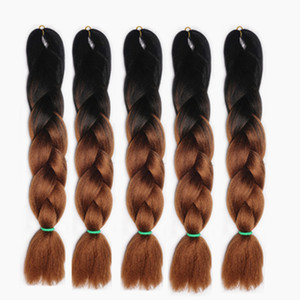 Wholesale Chemical fiber big braids mine ghost Two Tone Ombre Kanekalon Jumbo Braids Hair Extensions quot Synthetic Crochet Braiding Hair