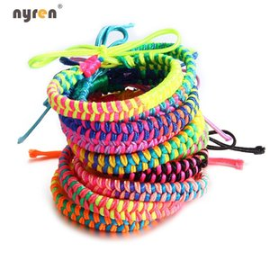 Wholesale Hot Colorful Rainbow Handmade Woven Braided Rope Friendship Bracelet Beach Bohemian for Women Jewelry