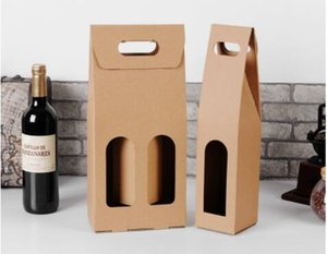 Wholesale hot Kraft Paper Red Wine Box Handheld single double red wine bag Window gift box