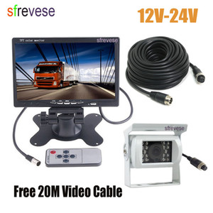 "7"" LCD Monitor Car Rear View Kit + White 4Pin CCD Reversing Parking Backup Camera with 20M Cable for Bus Truck Motorhome 12V-24V"