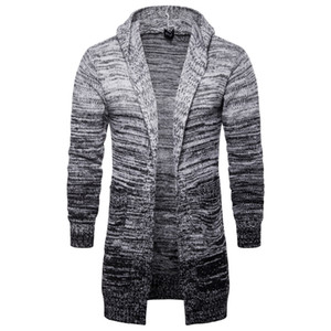 Autumn men's hooded cardigan jacket men's European and American tide long gradient gray sweater hoodies sweatshirts on Sale