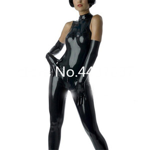 Wholesale Sleeveless Latex Catsuit Sexy Black Tight Leotard For Women Back Zip Latex Costumes No gloves