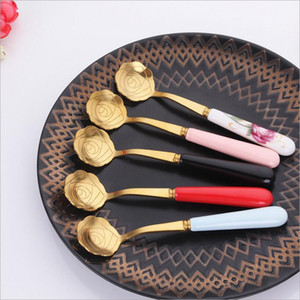 New Stainless Steel Rose Flower Shape Coffee Spoons Dessert Spoon Ice Scoop Gold Silver Kitchen Accessories on Sale