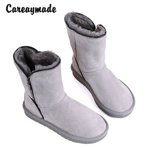 Wholesale Careaymade The new winter snow boots female sheep fur with warm cashmere leather shoes barrel boots thick waterproof colors
