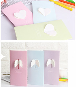 Wholesale lovely birthday card wed card in flush rosy light blue dimensional ribbon heart angel wing patterned for kid birthday invitation