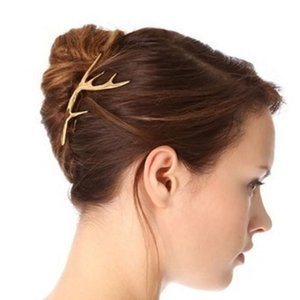 Wholesale Deer Horn Hairpin with two face finish Gold and silver plated for Women Fashion hair clip gift