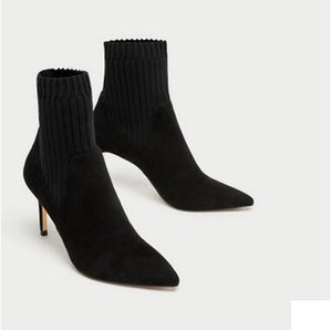 European and American Style Women's Patchwock Socks Shoes Ankle Boots Pointed Toes Solid High Heels Women's Dress Shoes