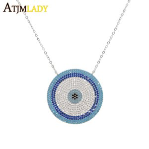 Wholesale 2018 Micro zirconia Greek Evil Eye Charm Sterling Silver Lucky Blue Eyes Necklace Elegant Women Girls Exquisite Gift Jewelry