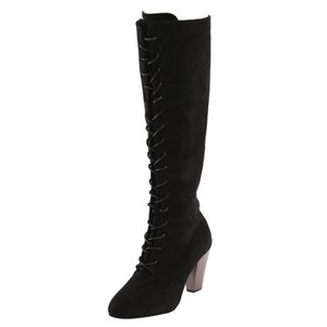 Wholesale Sexy Lace Up Over Knee Boots Women Boots Flats Shoes Woman Square Heel Flock Botas Winter Thigh High