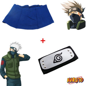 Japan Anime Naruto Hokage Hatake Kakashi Halloween Unisex Cosplay Accessories Prop Blue Face Mask Headband Gift