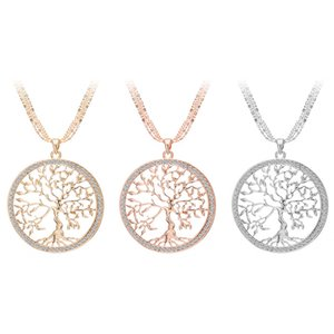 Wholesale Tree Of Life Rose Gold Silver Color Long Necklace for Women Fashion Crystal Multilayer Pendant Necklace Female Jewelry D788S