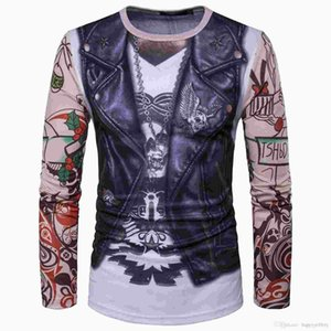 herren tattoo ärmel großhandel-Herren Langarm T Shirts mit D Aufdruck Weste Tattoo Casual Slim Fit CT336