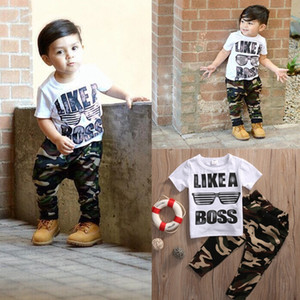 Wholesale Casual fashion toddler baby kids boys clothes set T shirt tops camouflage pants set clothes outfits suit