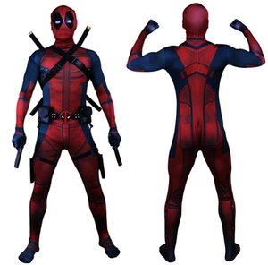 Wholesale Drop Shipping Universe Classic Muscle Chest Deadpool Costume Full Bodysuit Zentai Suits Kids D Style Cosplay Hood Separated