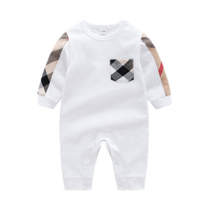 Wholesale white unisex baby clothes resale online - Baby boys rompers kids plaid long sleeve jumpsuits infant girls letter embroidery cotton romper boy clothing A3821