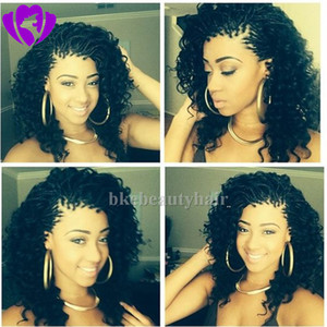 Wholesale Stock fast shipping Shot curly wig Black Color Micro Box Braided Wigs Synthetic lace front Wigs for africa american women