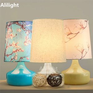 Pretty Handmade Glass Stone Table Lamp for Bed Room Abajour Desk Light Luminaria E27 Flower Fabric Shade Desk Lamp Home Decor