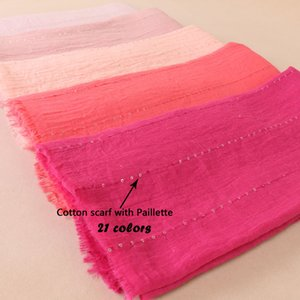Plain Crinkled Bubble Cotton Sequins Scarf Soft Cotton Fringes Shawl Muslim Hijab Wrap Oversize Bandana 20PCS Lot 21Colors BS522 on Sale