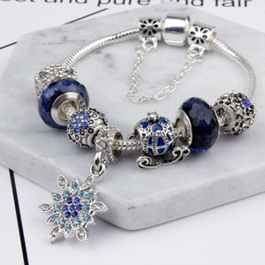 Charm Beads fit for pandora Jewelry 925 Silver Bracelets Snowflake Pendant Bangle blue sky pumpkin cart charms Diy Jewelry with gift box