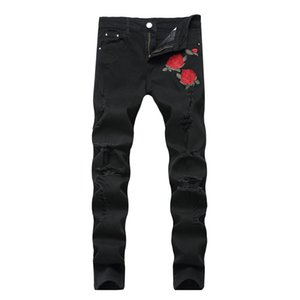Wholesale Hip hop Men Black Ripped Jeans with Embroidery Men with Flowers Rose Embroidered Mens Denim Jeans Stretch Skinny hole Pants