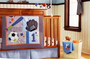 Wholesale baby quilt applique resale online - 7Pcs Baby Quilt Crib bedding set Diaper Bag Blanket Window Curtain Cot bedding set Embroidery leaves football hand baseball Baby bedding set