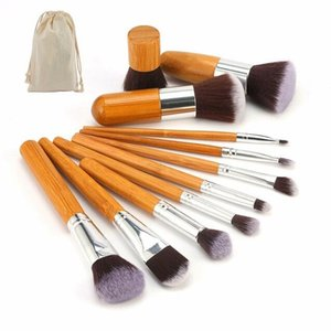 Wholesale Natural Bamboo Makeup Brushes with Bag Professional Cosmetics Eyeliner Brush Kit Soft Kabuki Foundation Blending Tool gift
