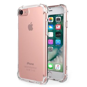 Four Angle Shockproof Soft Transparent Clear Anti knock TPU Protective Cover Case For iPhone X 5 5s SE 6 6s 7 8 Plus