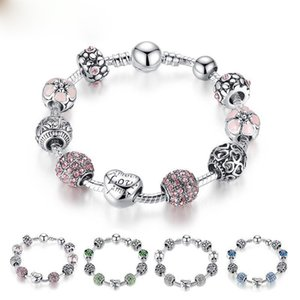 Hot style Fine Tibetan silver Beads Bracelet Pandora Charms Glass Beads DIY Beaded Strands Bracelet Pink White Green