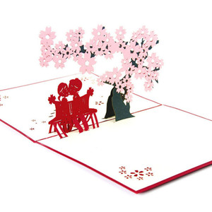 Wholesale 3D Pop Up Origami Paper Laser Cut Greeting Cards Handmade Vintage Cherry Lover Birthday Postcards DIY Thank You Cards