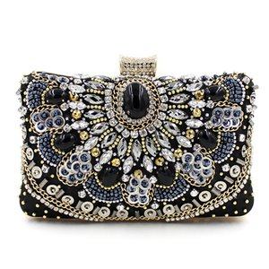 Wholesale Luxury high quality handmade beaded chain diamond gem black evening bag wedding party handbag women s Clutch mini messenger bag