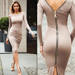 Wholesale SheeYon New Style Sexy Dress Women s Fashion And Knee Tight Dress Zipper Sleeve O Collar Long Sleeve Z18071630