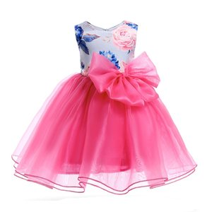 2018 New European & American Style Summer cool and refreshing sleeveless Boat Neck Girls organza Dresses printing Fluffy skirt Tutu Dresses