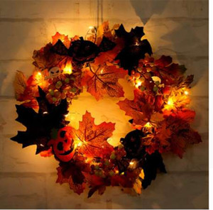 Wholesale Diconna Autumn Maple Leaf Pumpkin Berry Wreath Halloween Door Home LED Decor UK